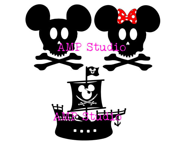 570x475 Disney Skull And Crossbones Pirate Mickey Mouse Minnie Mouse