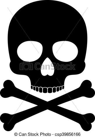 326x470 Crossbones Skull Death Vector Silhouette Icon. Skull Vector