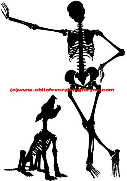 423x600 Man And Dog Skeleton Skull Silhouette Printable Art Clipart Png