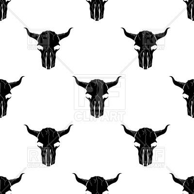 400x400 Bull Skull Silhouette Seamless Pattern Royalty Free Vector Clip