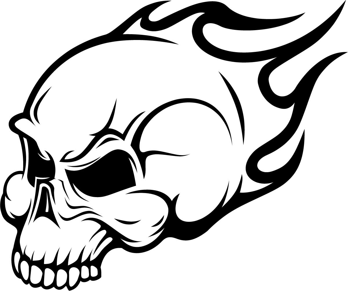 1200x1004 Flaming Skull Wall Art Sticker Image