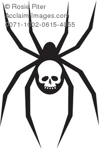 200x300 Illustration Of A Silhouette Of A Spider With A Skull On It's Abdomen