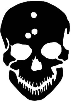 246x350 Skull Silhouette With Bullet Holes In Head Vinyl Decal Customized