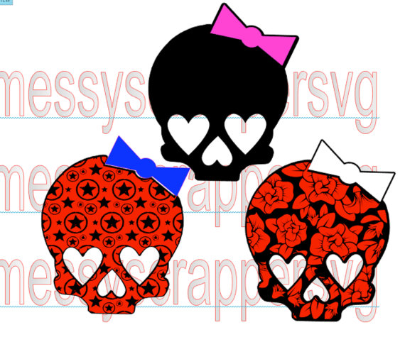 570x475 Girly Skulls With Hearts, Flowers, And Stars.(Svg Cut Files,vinyl