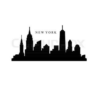 320x280 New York Usa City Skyline Silhouette Vector Illustration Stock