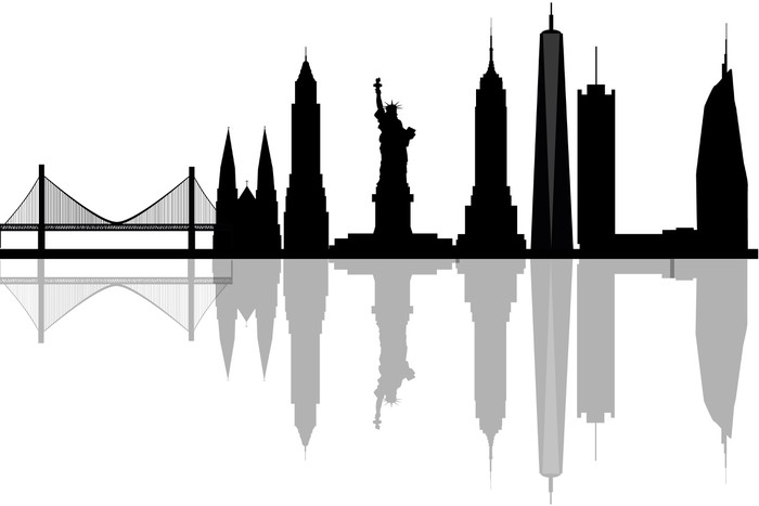 700x467 Modern Silhouette Skyline Of New York. Wall Mural We