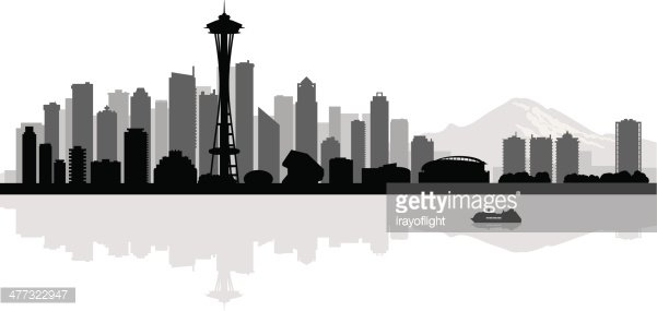 601x285 Seattle City Skyline Silhouette Background Premium Clipart