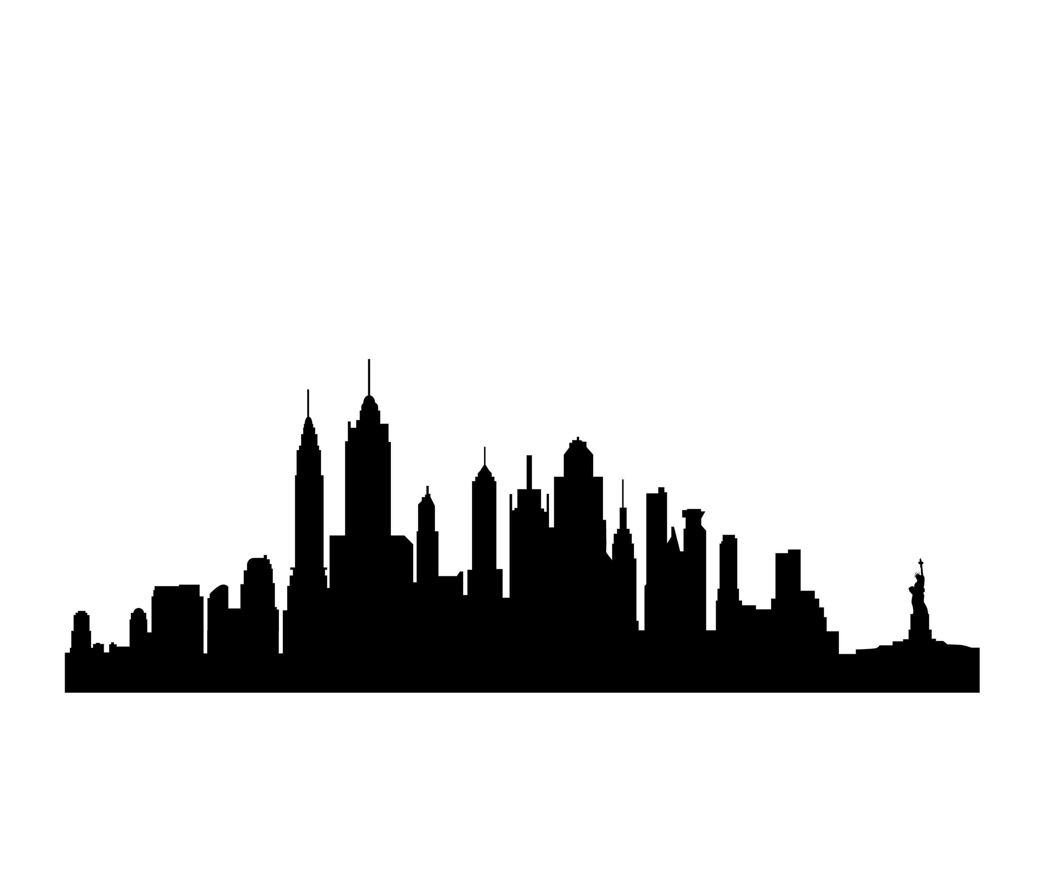 3413x2844 Silhouette Of Nyc Skyline