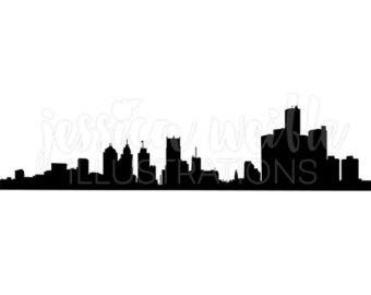 340x270 Atlanta Vector Skyline, Atlanta Svg, Silhouette, Svg, Dxf, Eps, Ai