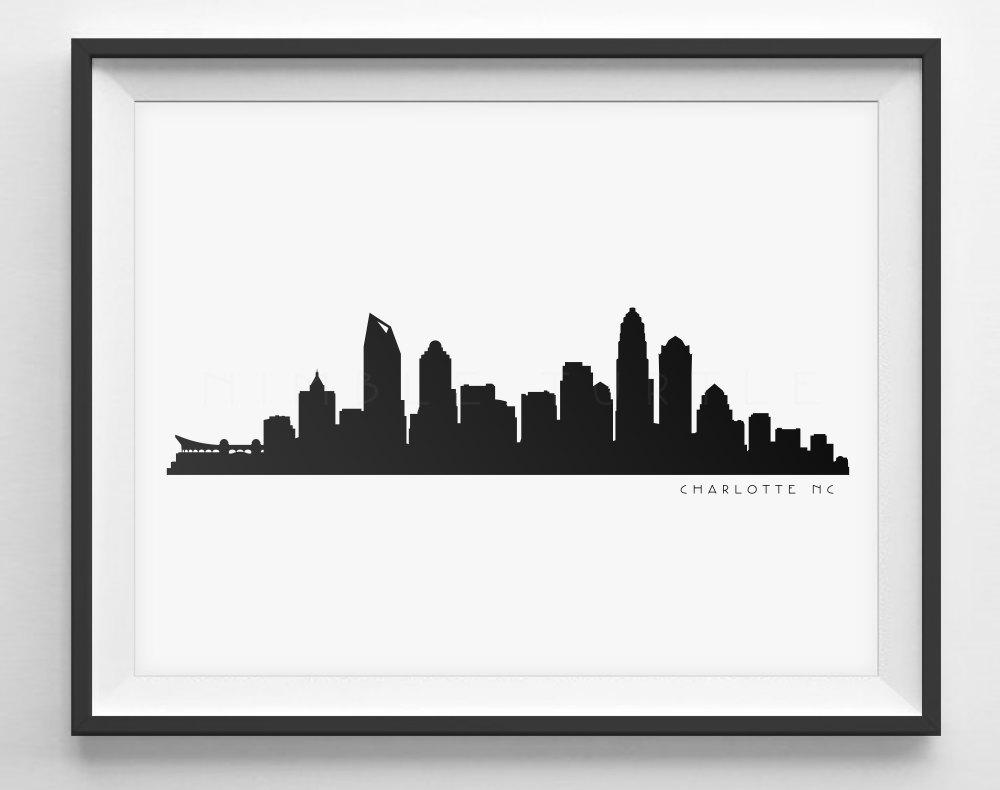 1000x790 Charlotte Skyline Silhouette Printable Skyline
