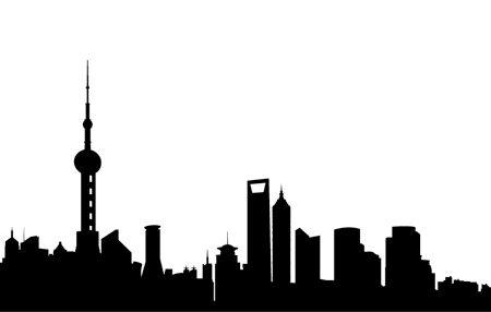 450x286 Cartoon Shanghai Skyline. Cartoon Skyline Silhouette Of Clipart
