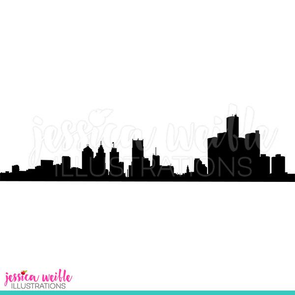 600x600 Detroit Skyline Silhouette Digital Clipart Detroit Clip Art