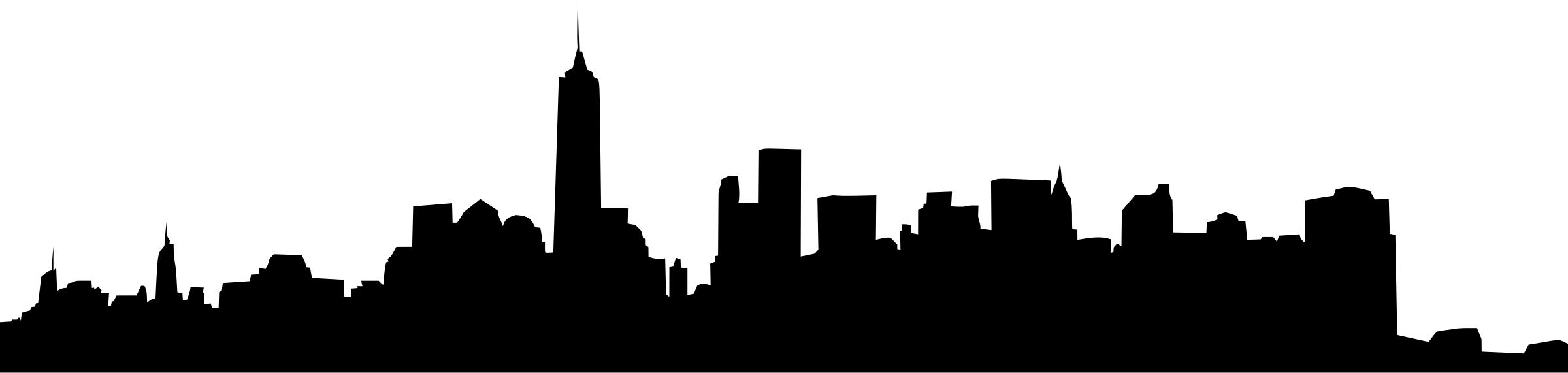 2400x571 New York Central Park Skyline Silhouette Icons Png