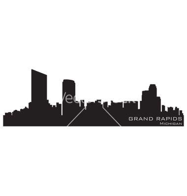 380x400 Grand Rapids Michigan Skyline Detailed Silhouette Vector Tattoo