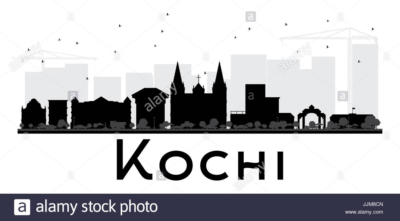 1300x720 Kochi City Skyline Black And White Silhouette. Vector Illustration