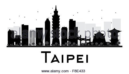 450x257 Taipei City Skyline Black And White Silhouette With Reflections
