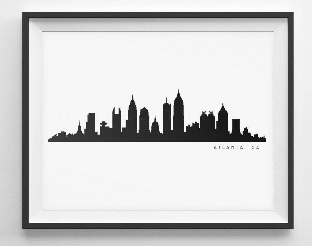 1000x790 Atlanta Skyline Black And White Silhouette