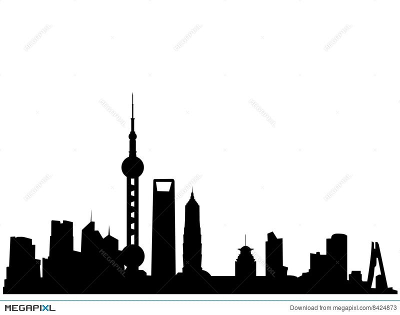 800x630 Shanghai Skyline Silhouette Illustration 8424873
