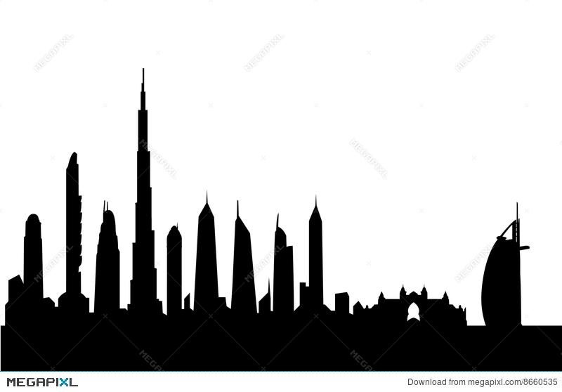 800x558 Dubai Skyline Silhouette Vector Illustration 8660535