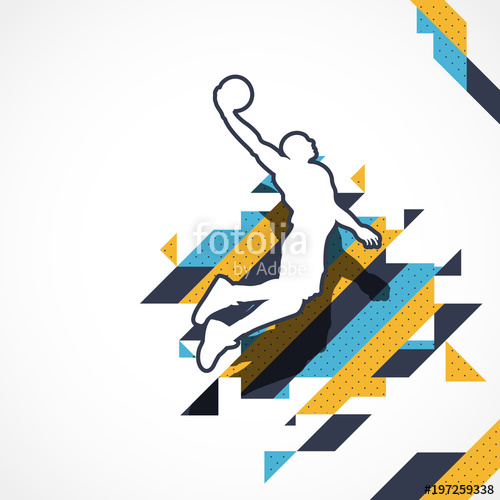 500x500 Basketball Player Silhouette Player Jump For The Slam Dunk