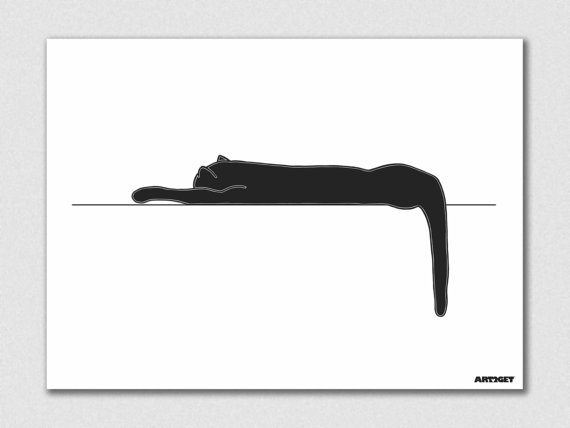 570x428 Items Similar To Sleeping Cat Silhouette Printed On High Quality