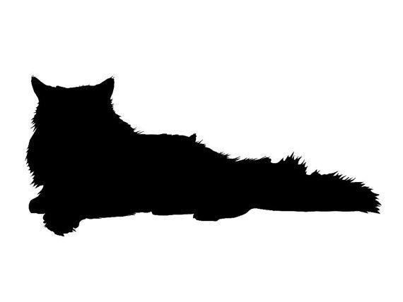 570x428 Persian Cat Silhouette Custom Die Cut Vinyl Decal Sticker