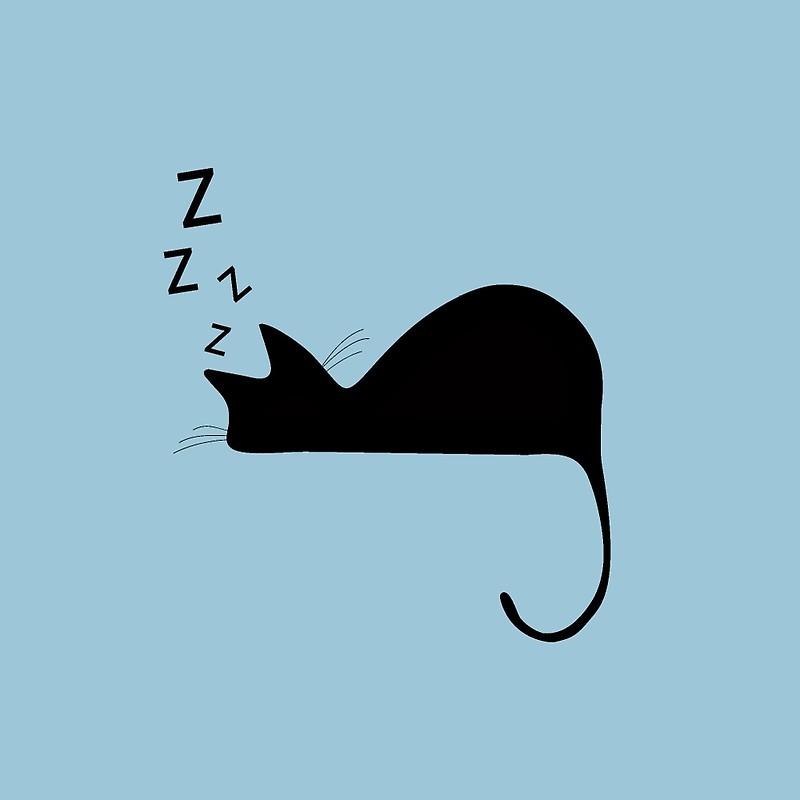 800x800 Sleeping Cat Nap Silhouette Art Prints By Pdgraphics Redbubble