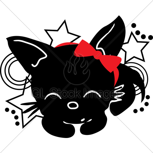 500x500 Sleeping Cat Silhouette With Bow Gl Stock Images