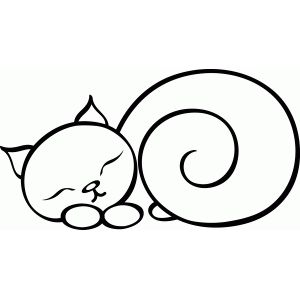 300x300 Sleeping Cat Silhouette Design, Silhouettes And Store