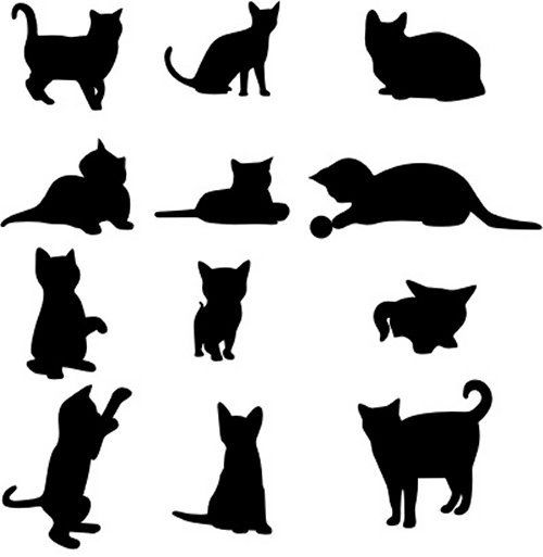 500x513 85 Free High Quality Silhouette Sets Silhouettes, Cat And Food