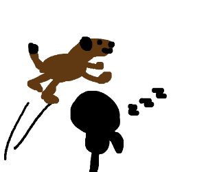 300x250 A Dog Jumps Over The Silhouette Of Sleeping Squidward