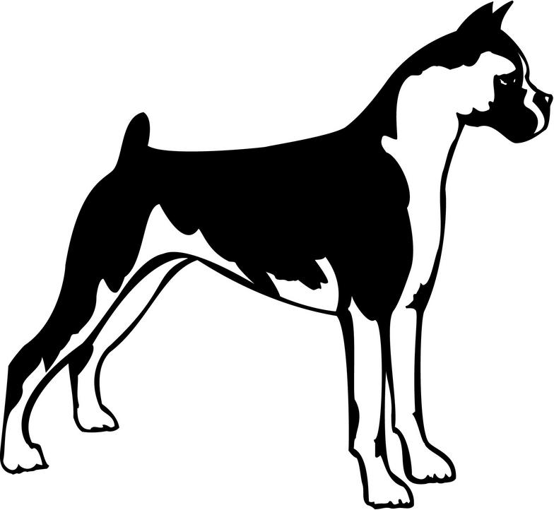 784x722 Boxer Dog Silhouette Clipart Collection
