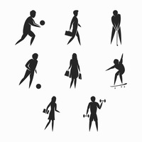 200x200 Shape Shapes Silhouette Silhouettes Cutout Cut Out People Human