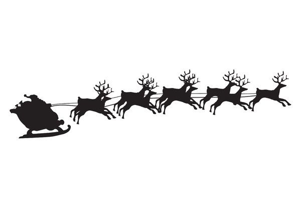Sleigh And Reindeer Silhouette