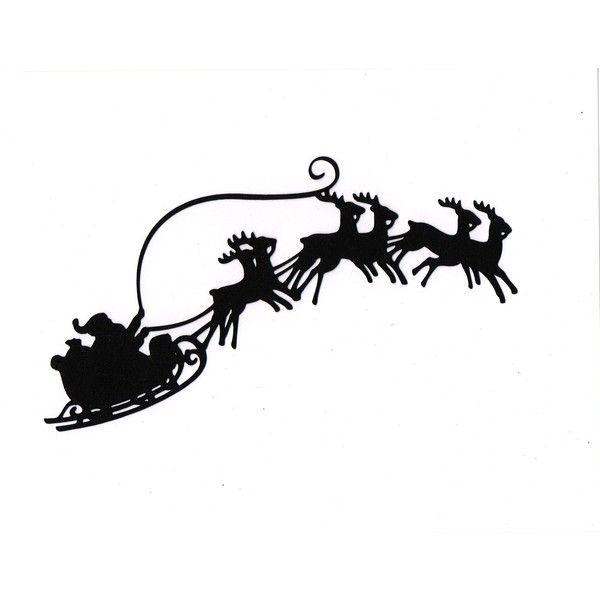 600x600 Large Santa Sleigh Reindeer Silhouette Die Cut For Scrapbooking