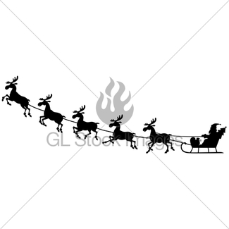 325x325 Silhouette Santa Claus Riding Sleigh With Deer On Night B Gl