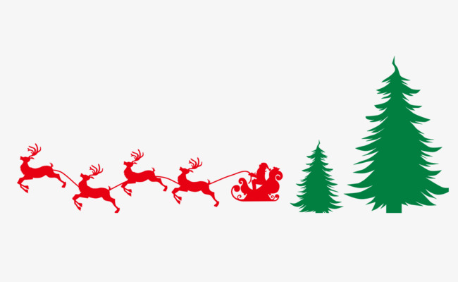 650x400 Christmas Tree Santa Claus Sleigh Silhouette Elk, Christmas Tree
