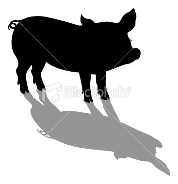 367x380 Silhouette Illustration Of A Young, Small Pig, And Shadow Very