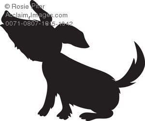 300x251 Free Clipart Illustration A Small Dog Howling In Silhouette