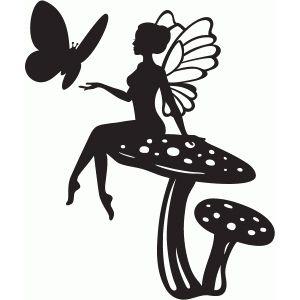300x300 Die Cut Silhouette Fairy On Mushroom A Medium X 8. Cardmaking