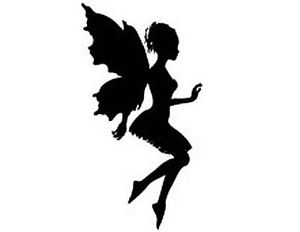 300x232 Fairy Silhouette 130 Small Or 48 Large Sticky White Paper Stickers