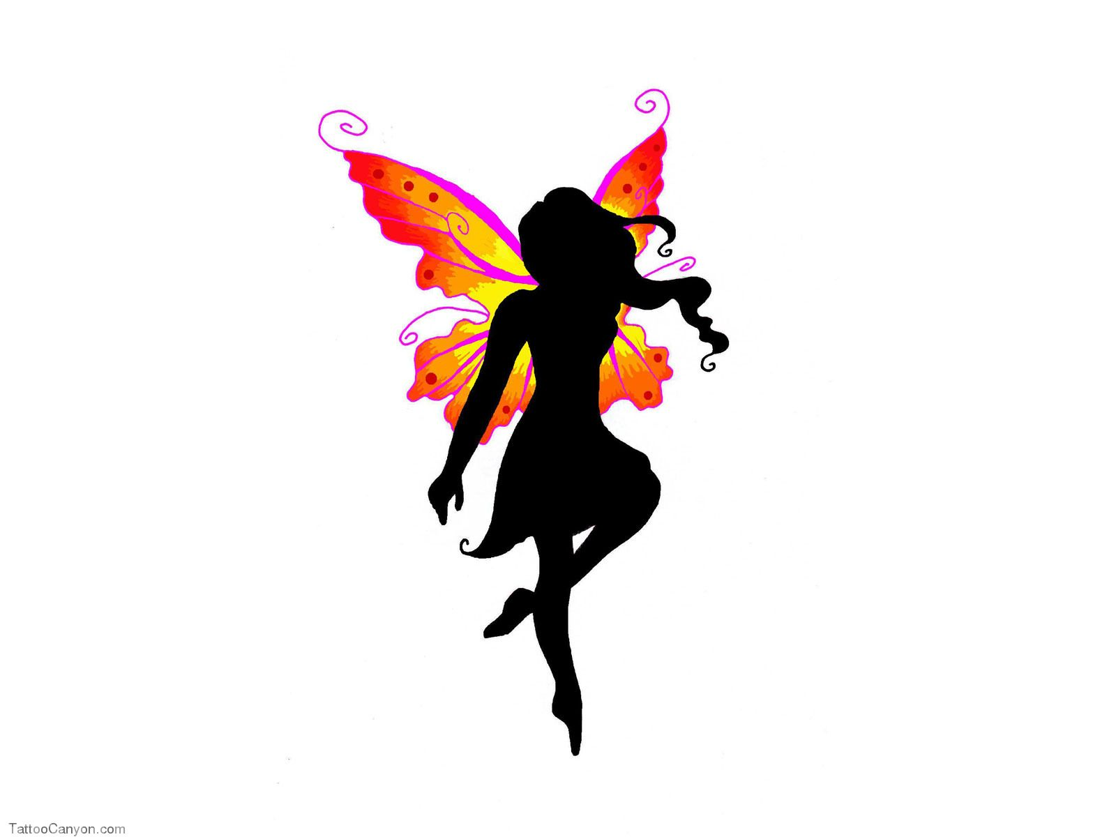 1600x1200 Free Designs Black Fairy With Colored Wings Tattoo Wallpaper