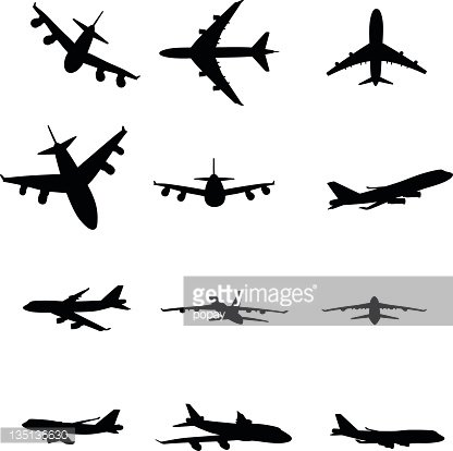416x414 Airplane Silhouette Premium Clipart