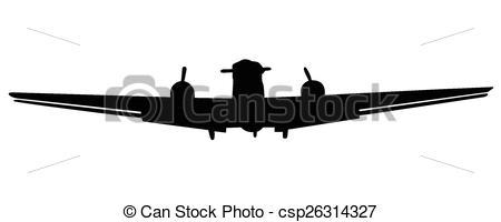 450x200 Small Plane Vector Silhouette Vector Illustration