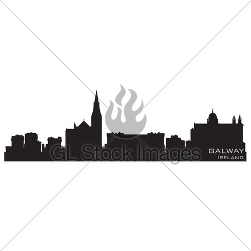 500x500 Galway, Ireland Skyline. Detailed Vector Silhouette Gl Stock Images