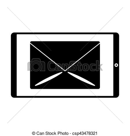 450x470 Silhouette Smartphone Email Message Mail Vector Illustration