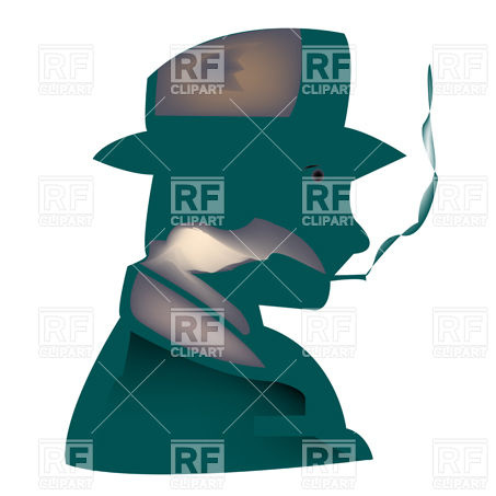 453x453 Man In Retro Hat Smoking Pipe, Outline Royalty Free Vector Clip