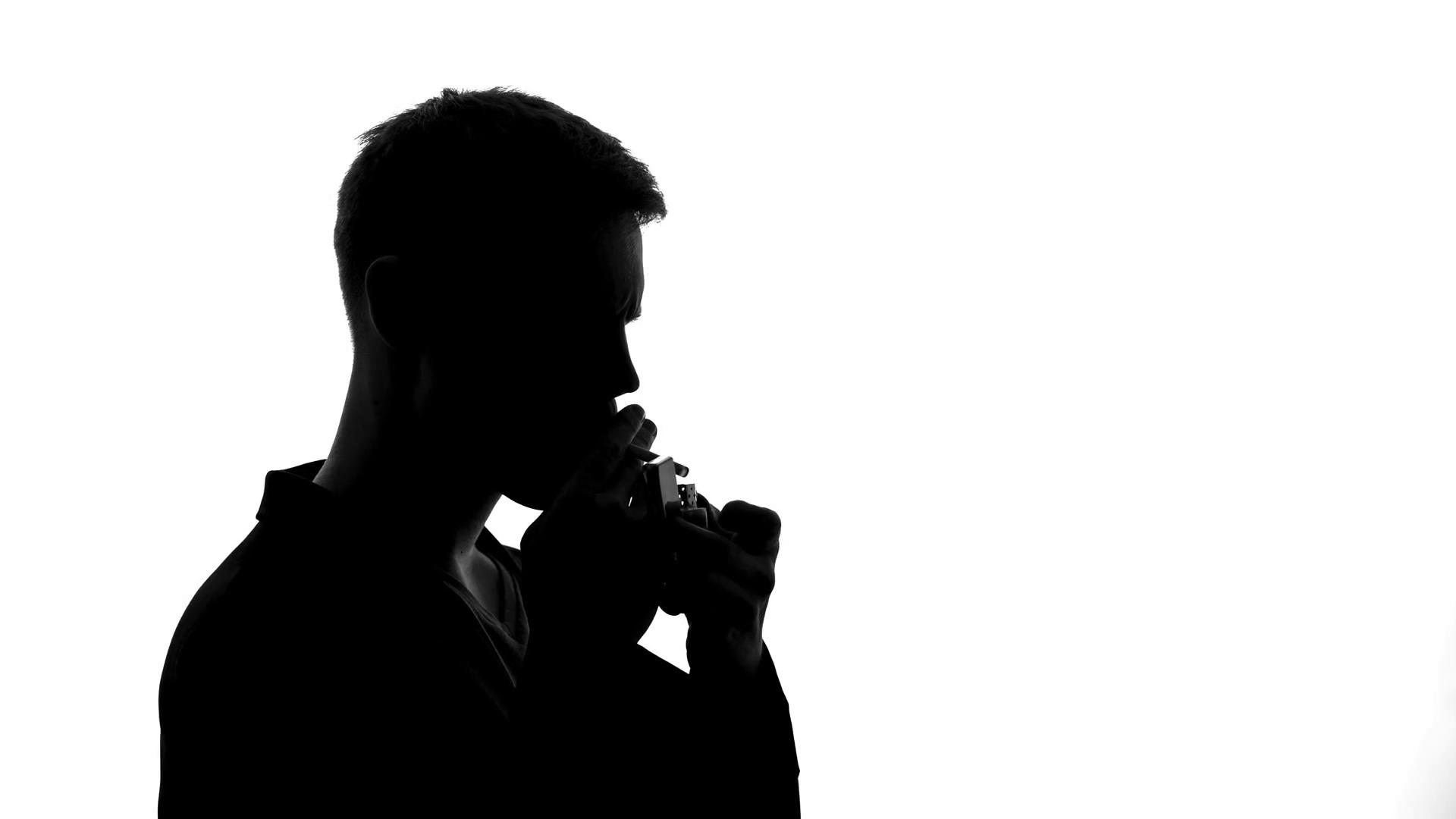 1920x1080 Man Shadow Lighting Cigarette And Smoking, Unhealthy Addiction