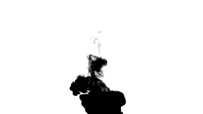 852x480 Black Ink Flow On White Moving In Slow Motion, Ink Or Smoke Inject