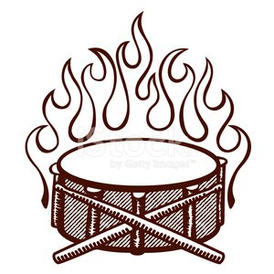 300x300 Flaming Drums, Snare Drum With Sticks Logo, Rockabilly Flames